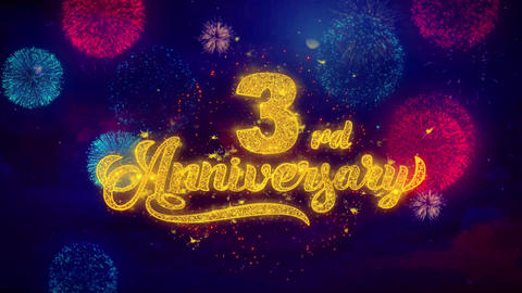 3rd Happy Anniversary Greeting Text Sparkle Particles on Colored Fireworks Footage