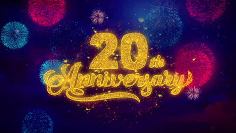 20th Happy Anniversary Greeting Text Sparkle Particles on Colored Fireworks Live Action