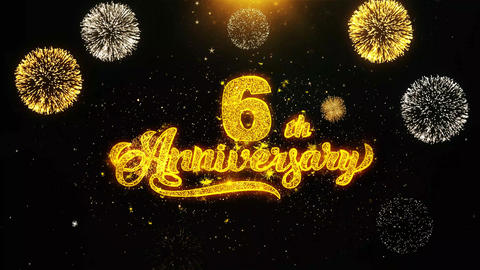 6th Happy Anniversary Wishes Greetings card, Invitation, Celebration Firework Footage