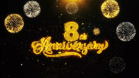 8th Happy Anniversary Wishes Greetings card, Invitation, Celebration Firework Footage