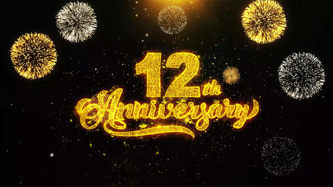 12th Happy Anniversary Wishes Greetings card, Invitation, Celebration Firework Footage
