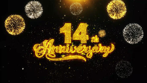 14th Happy Anniversary Wishes Greetings card, Invitation, Celebration Firework Footage