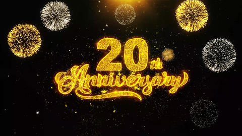 20th Happy Anniversary Wishes Greetings card, Invitation, Celebration Firework Footage