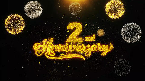 2nd Happy Anniversary Wishes Greetings card, Invitation, Celebration Firework Footage