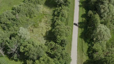 Car moving on road among green trees and fields in countryside. Aerial top view car turning on Live Action