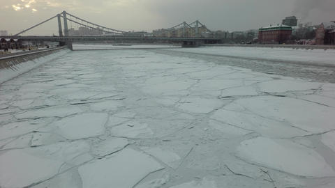 Ice drift on a megapolis river Footage