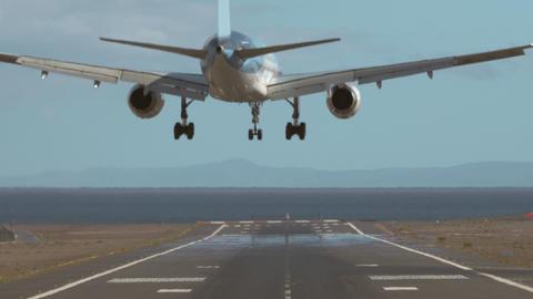 An aircraft lands Footage
