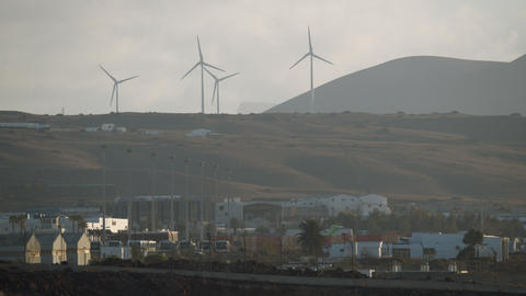 Four working wind generators Footage