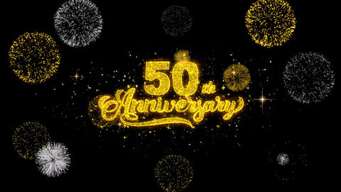 50th Happy Anniversary Golden Text Blinking Particles with Golden Fireworks Footage