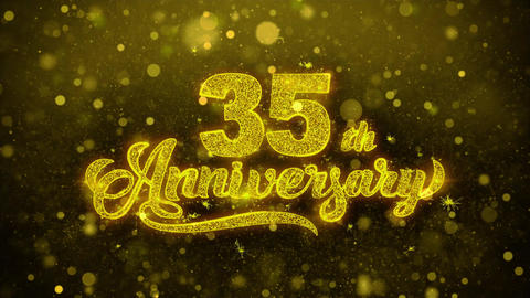 35th Happy Anniversary Golden Text Blinking Particles with Golden Fireworks Footage