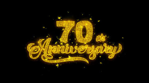 70th Happy Anniversary Typography Written with Golden Particles Sparks Fireworks Footage