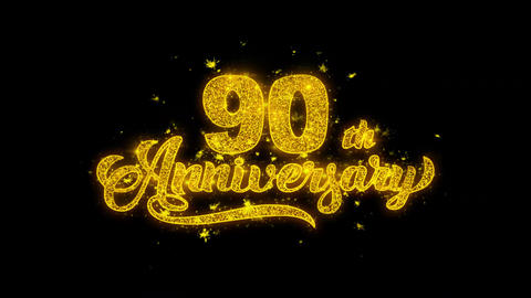 90th Happy Anniversary Typography Written with Golden Particles Sparks Fireworks Live Action