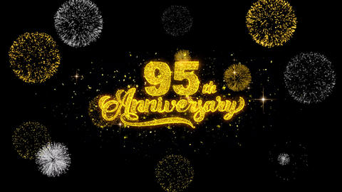 95th Happy Anniversary Golden Text Blinking Particles with Golden Fireworks Footage