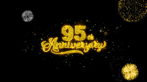 95th Happy Anniversary Golden Text Blinking Particles… Stock Video Footage