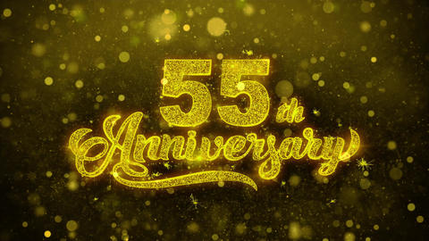 55th Happy Anniversary Golden Text Blinking Particles with Golden Fireworks Live Action