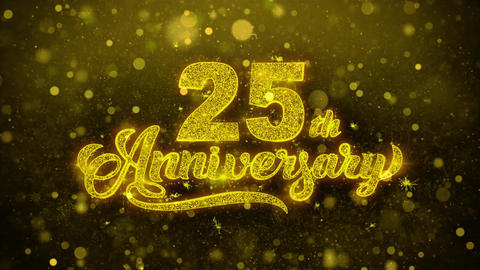 25th Happy Anniversary Golden Text Blinking Particles with Golden Fireworks Footage