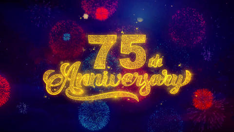 75th Happy Anniversary Greeting Text Sparkle Particles on… Stock Video Footage