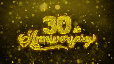 30th Happy Anniversary Golden Text Blinking Particles with Golden Fireworks Live Action