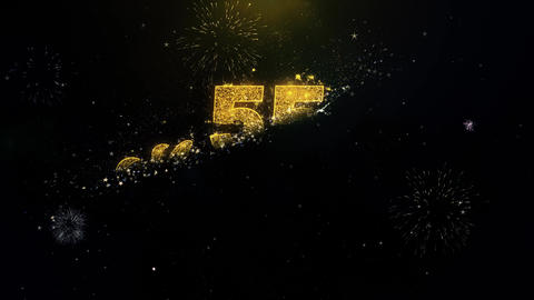 55th Happy Anniversary Written Gold Particles Exploding... Stock Video Footage
