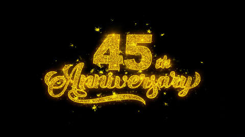45th Happy Anniversary Typography Written with Golden Particles Sparks Fireworks Live Action
