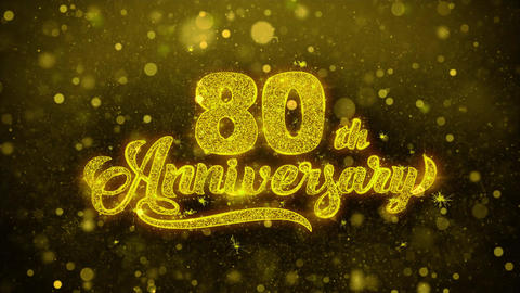 80th Happy Anniversary Golden Text Blinking Particles with Golden Fireworks Footage