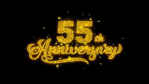 55th Happy Anniversary Typography Written with Golden Particles Sparks Fireworks Live Action