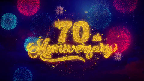 70th Happy Anniversary Greeting Text Sparkle Particles on Colored Fireworks Footage