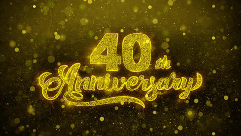 40th Happy Anniversary Golden Text Blinking Particles... Stock Video Footage