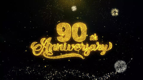 90th Happy Anniversary Written Gold Particles Exploding Fireworks Display Footage