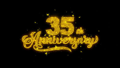 35th Happy Anniversary Typography Written with Golden Particles Sparks Fireworks Live Action