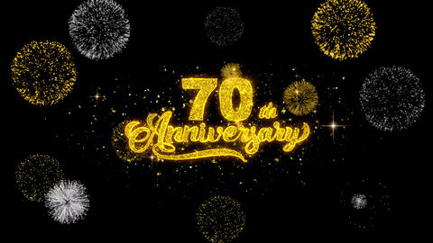 70th Happy Anniversary Golden Text Blinking Particles with Golden Fireworks Live Action