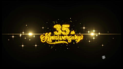 35th Happy Anniversary Golden Text Blinking Particles… Stock Video Footage