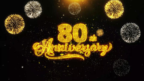 80th Happy Anniversary Wishes Greetings card, Invitation, Celebration Firework Live Action
