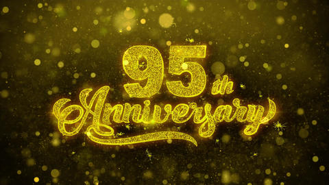 95th Happy Anniversary Golden Text Blinking Particles with Golden Fireworks Live Action