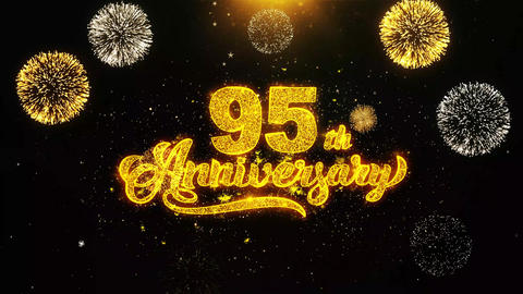 95th Happy Anniversary Wishes Greetings card, Invitation, Celebration Firework Live Action