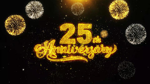 25th Happy Anniversary Wishes Greetings card, Invitation, Celebration Firework Live Action