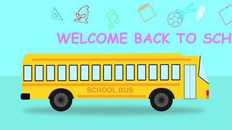 Back to school colourful School Bus looped animation Animation