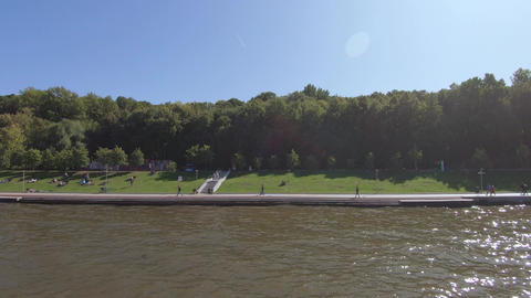 View of the Kremlin Embankment and the Bolshoi Kamenny Bridge from a pleasure Footage