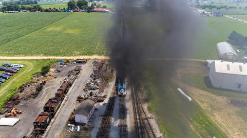 Aerial View of Train Yard Waiting for Thomas the Train Puffing Smoke on a Sunny Summer Day Photo