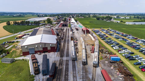 Aerial View of Train Yard Waiting for Trains on a Sunny Summer Day Photo