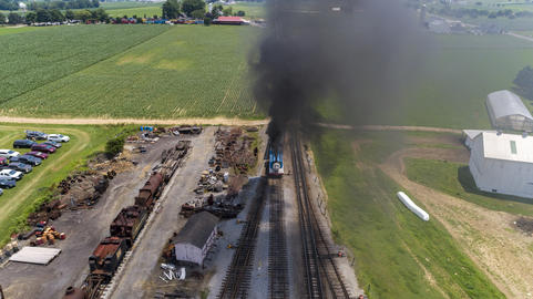 Aerial View of Train Yard Waiting for Thomas the Train Puffing Smoke Photo