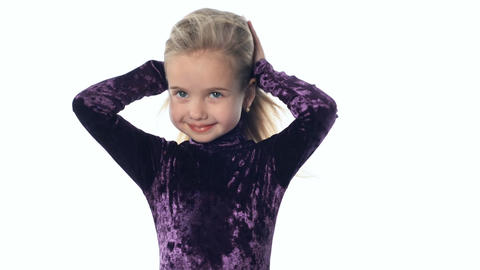Young Girl The Blonde Irons The Hair stock footage