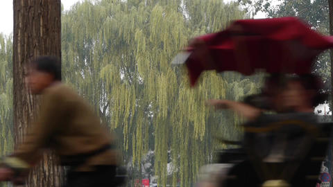 Tricycle carrying tourists sightseeing in Beijing's tree hutong alley tour Footage