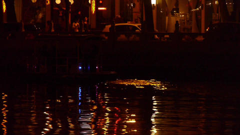 reflection on lake with splendid lighting.Ferry boats & cruise ships.pedestr Footage