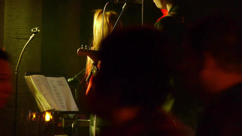 Bar band performances.Live music Nightlife Stock Video Footage