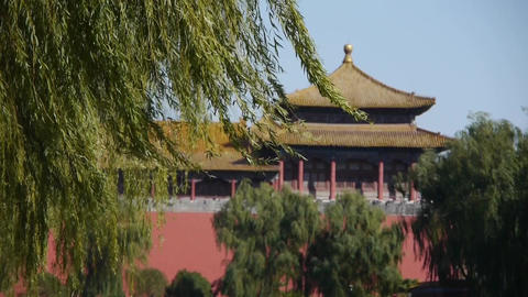 China ancient tower architecture & willow in Beijing Forbidden City Footage