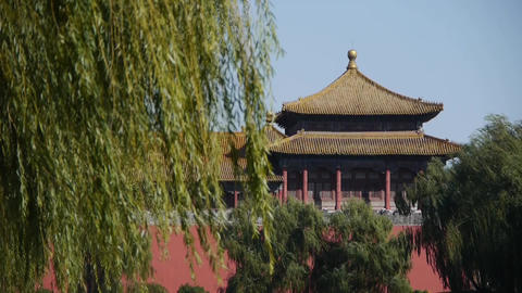 China ancient tower architecture & willow in Beijing... Stock Video Footage