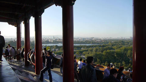panoramic views of Many tourists people at China ancient architecture Beijing Ji Footage