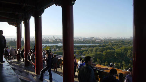 panoramic views of Many tourists people at China ancient... Stock Video Footage
