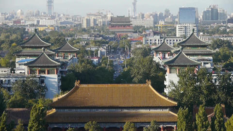 Panoramic of China ancient tower architecture & urban... Stock Video Footage